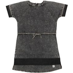 Molo Kids-girls Vintage Effect Chambray Dress (770 NOK) ❤ liked on Polyvore featuring dark grey