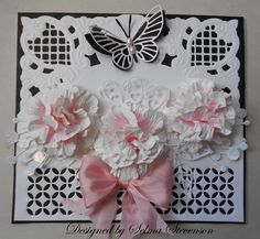 I have a tutorial on my blog on how to create these flowers:  http://selmasstampingcorner.blogspot.com/2012/06/pink-flower-tutorial.html