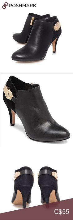 Shop Women's Vince Camuto Black Gold size Ankle Boots & Booties at a discounted price at Poshmark. Bootie Boots, Ankle Boots, Plus Fashion, Fashion Tips, Fashion Trends, Vince Camuto, Soft Leather, Booty, Zipper