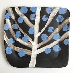 Paula Greif - tree of life black stoneware platter