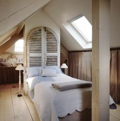 """Adorable bedroom """"under the eaves"""" via FRENCH COTTAGE www.justsofrench.com"""
