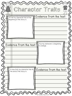 Fabulous Free Character Traits Graphic Organizer Worksheet