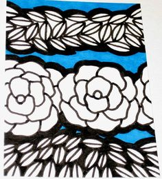 Original Drawing ACEO Black and White Flower with Turquoise Background Design