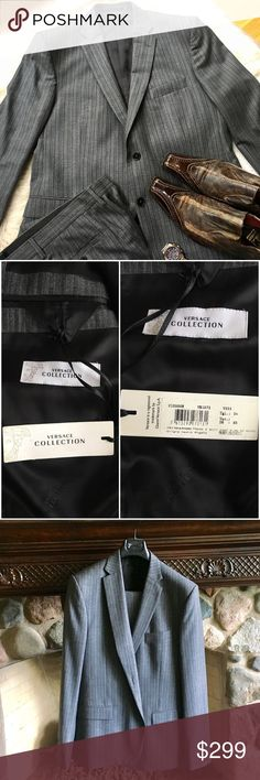 """Versace Collection men's gray suit - NWOT Authentic Versace Collection 100% wool suit.  Darts on this rich wool suit enhance the fit, lending a defined silhouette to this impeccably- tailored ensemble. Has never been worn. Jacket: - Front 2-button closure, Dual front darts, Dual waist flap pockets, 1 chest welt pocket, 3 interior pockets, 3 button cuffs, Dual back vents - About 30"""" from shoulder to hem Pants: - Dual side slash pockets, Dual back buttoned pockets, Unfinished hem - Rise, about…"""