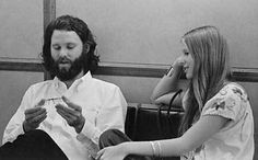 Jim Morrison talking with a fan during his trial in Miami - 1969