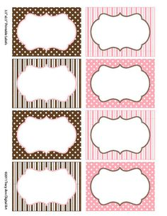 Items similar to Chocolate and Pink Print your own Labels/Cards for journaling, scrapbooking, gift giving, mailing (Ginny on Etsy Printable Labels, Printables, Free Printable, Chevron Labels, Free Christmas Backgrounds, Paper Napkins For Decoupage, Hello Kitty Birthday, Stationery Paper, Printing Labels