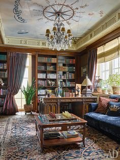 """Apartment in Moscow, 300 m². In the office of head of the family - bookcases, Francesco Molon, sofa, Provasi, and the carpet from the """"Mark Patlis decorating studio."""" Ceiling painting, Studio Deco Interiors Ilya Sologubovskogo."""