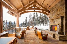 Would you like to relax on this lodge-style patio? Outdoor Spaces, Outdoor Living, Outdoor Kitchens, Cozy Living Spaces, Rustic Patio, Rustic Porches, Rustic Wood, Contemporary Patio, Lodge Style