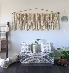 """72""""× 26"""" Large macrame wall hanging/large woven wall hanging/large yarn wall hanging/large yarn tapestry/Tassel wall hanging Yarn Wall Hanging, Large Macrame Wall Hanging, Jute Twine, Twists, Wooden Beads, Strands, Yarns, Valance Curtains, Wool Blend"""