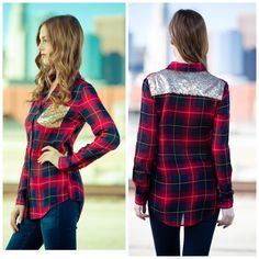 Sequins Plaid Shirt ‼️‼️Arrives Mid December‼️‼️STOP‼️Ask For Separate Listing‼️‼️Glam on your off and on days with this flirty style. Fabric: Cotton All merchandise is from my GlitterBuzzStyle Boutique. GlitterBuzzStyle Boutique Tops Button Down Shirts