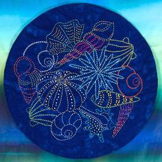 Anemones & Sea Shells Quilt Pattern Colored Sashiko Threads Design $10.50