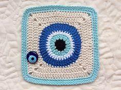 Crochet Projects Ravelry: Nazar Boncugu pattern by Rebekah Yeager Crochet Square Blanket, Granny Square Crochet Pattern, Crochet Squares, Crochet Blanket Patterns, Crochet Eyes, Crochet Home, Peacock Crochet, Yarn Crafts, Crochet Projects