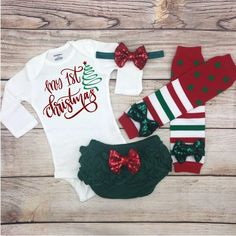 e7defc344ff1 My 1st Christmas Baby Girl Christmas Outfit, Infant Christmas Clothes, Xmas  Newborn Coming Home, My First Christmas Baby Girl
