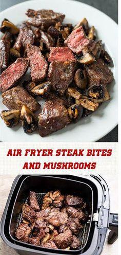 Air Fryer Steak Bites And Mushrooms – Best Recipes Today - Air Frying Air Fryer Oven Recipes, Air Fryer Dinner Recipes, Air Fryer Recipes Gluten Free, Recipes Dinner, Steak And Mushrooms, Stuffed Mushrooms, Mushrooms Recipes, Portabello Mushrooms, Yummy Snacks