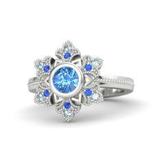 Round Aquamarine 14K White Gold Ring with Diamond | Snowflake Ring | Gemvara