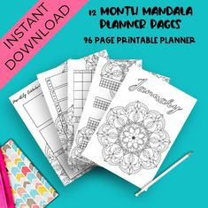 96 planner printables with monthly, weekly and trackers for the whole year! Planner Sheets, Printable Planner Pages, Bullet Journal Printables, Bullet Journal Themes, Planner Template, Planner Inserts, Templates Printable Free, Bullet Journal Mandala, Bujo