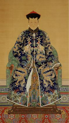 This traditional-style ancestor portrait depicts the mother of the Qianlong emperor's first empress, who lived from 1711 to 1748.