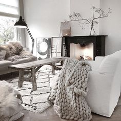 make it a white christmas with this scandi chic home interior design that can adapt to the seasons with your own touches of accent colours in art , soft furnishings or ornaments and can be made to feel cosy or at one with nature by the addition of scandi folk knit blankets and a christmas tree or reclaimed wood tables and shelves, keep getting great ideas for the whole house by following this board