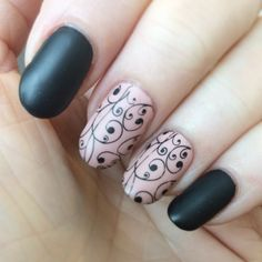 Matte Black with nailstamping
