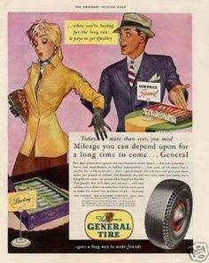 General Tire Vintage Ad- Mileage you can depend upon for a long time to come