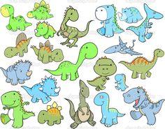 pictures of cute dinosuars | Cute Dinosaur Vector Illustration Design Set - Stock Illustration