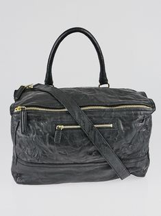 397700abee Givenchy Black Wrinkled Sheepskin Leather Large Pandora Bag