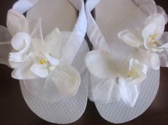 Wedding Flip Flops/Wedges for Bride. White Silk by RocktheFlops, $39.00