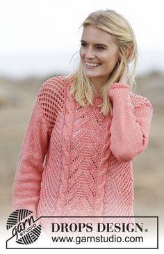 """Sweet Peach Cardigan - Knitted DROPS jacket with lace pattern and cables in """"Paris"""". Size: S - XXXL. - Free pattern by DROPS Design Cardigan Design, Cardigan Pattern, Jacket Pattern, Drops Design, Lace Knitting, Knitting Patterns Free, Knit Crochet, Free Pattern, Crochet Patterns"""