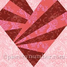 This easy-to-sew heart quilt block pattern was inspired by a luxurious red satin heart-shaped candy box I received one Valentine's Day. The chocolates and the box are long gone, but the memory of themlives on in this versatile design. Choose rich reds and roses for a sophisticated Valentine look. For fun, how about bright, funky…: