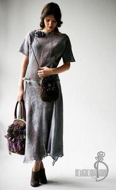 Валяное платье «Серебро» - серебряный,валяное платье,платье из войлока