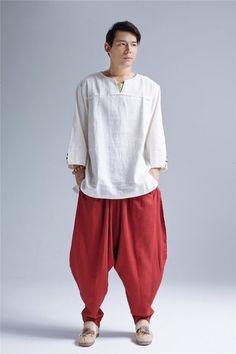 Men Pullover Linen Top/ Linen V-neck Tops/ Loose Linen Tops/ Hangfu Linen Top/ Kungfu Linen Top/ Zen Style Men Linen Top/ Zen Set Cyberpunk Clothes, Cyberpunk Fashion, Japan Fashion, Mens Fashion, Fashion Outfits, Kurta Pajama Men, Male Kimono, Japan Outfit, Indian Look
