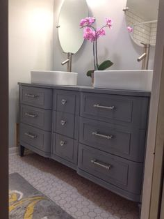 dressers as bathroom vanities | PRETTY DRESSER TURNED GORGEOUS MASTER BATH VANITY!