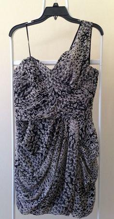 Max and Cleo Katherine Size 10 Black & Ivory One-Shoulder Dress $138 NWT #MaxandCleo #OneShoulder #Casual