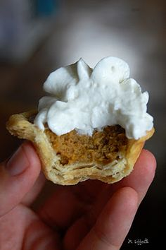 Mini Pumpkin Pies. Definitely need to try this in the fall.