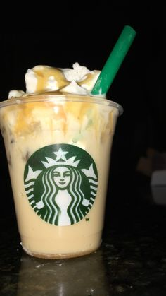 DIY Vanilla Frappe  Ingredients  vanilla chilled coffee drink  caramel mini Starbucks cup cut up straw  cool whip