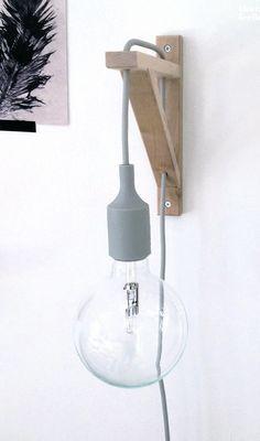 Voor de slaapkamer, als nachtlampje. DIY muuto lamp holder with ikea bracket