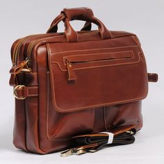 Handmade Genuine Leather Briefcase Laptop Bag, Messenger Bag, Traveling Bag in Brownish Red - MASSY