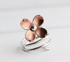 Dogwood Flower Adjustable Branch Ring Twig ring by HapaGirls