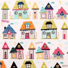 Tela blanca casa hogar retro vivienda Riley Blake Snapshots - Telas retro - Textiles - tienda kawaii modesS4u