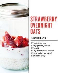 Strawberry Overnight Oats- R. good! Didn't know you could do this with steel cut oats