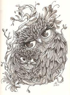 Zentangle bird owl
