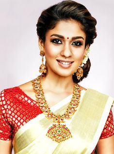 13 South Indian Celebrities Who Give Us Bridal Fashion Goals All The Time Nayanthara Hairstyle, Indian Wedding Hairstyles, Bridal Hairstyle, Saree Jewellery, Wearing Purple, Indian Outfits, Indian Attire, Indian Clothes, Saree Look