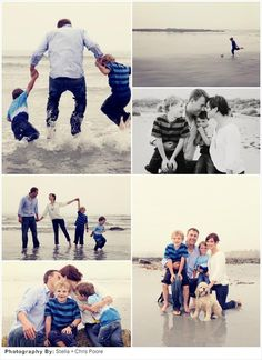 Family beach photos ideas. I like that they aren't all matchy matchy