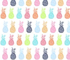 EXTRA LARGE Pineapple Party in Multicolor fabric by theartwerks on Spoonflower - custom fabric