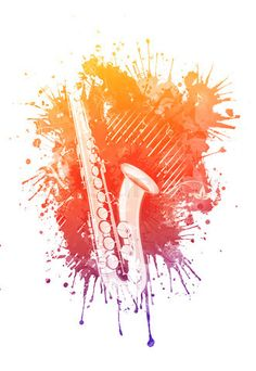 watercolor Music | Watercolor Saxophone. Retro Music Party Texture Background stock photo