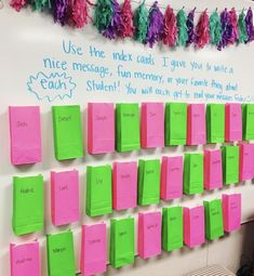 Classroom - Last week of school idea Each student will have a baggie with an index card for each student on their desk Tuesday morning along with a… Classroom Fun, Future Classroom, Classroom Activities, Classroom Organization, Classroom Management, Classroom Hacks, 4th Grade Classroom Setup, Behaviour Management, Middle School Classroom