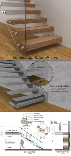 Learn how to design and build cantilevered stairs by understanding the design principles and physics behind the construction. Manufacturing drawings and 3D model available for purchase #cantilever #staircase #floating #steps #cantilevered #fixing #detail Oak Handrail, Stair Treads, Timber Cladding, Cladding Panels, Maxima And Minima, Cantilever Stairs, Basic Physics, Stair Detail, Floating Staircase
