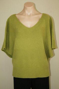 NEW Ellen Tracy Green 100% Cashmere Dolman Sleeve Boxy Sweater sz XL 1X #EllenTracy #VNeck