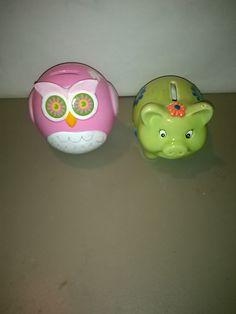 Pink owl and green pig glass piggy banks vintage by LostInspiration on Etsy
