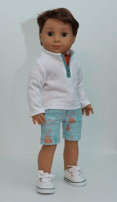 """On Route Three Piece Outfit fits 18 inch Boy Dolls such a American Girl's® Logan Everett. Boy American Girl Doll, American Doll Clothes, American Girls, Doll Dress Patterns, Doll Sewing Patterns, Doll Clothes Barbie, Barbie Dress, Barbie Doll, Girl Dolls"